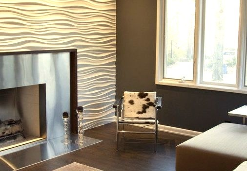 Stainless Steel Fireplace And Modulararts Wall